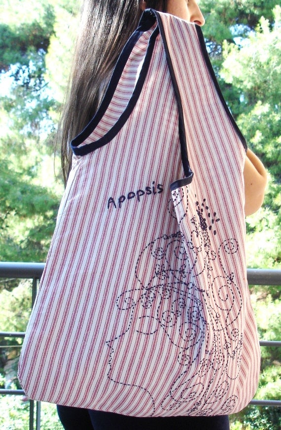 Fashion striped shopper bag / All cotton large / hand embroidery/ Carry a little piece of APOPSIS  wherever you go