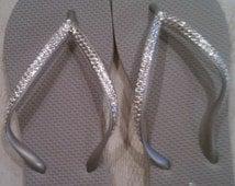 REAL Swarovski Crystals on Silver Flip Flops