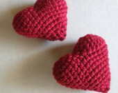 Give Me Some Love - Amigurumi Crochet Hearts - Red Set of Two Stuffed Decor Valentines Day Gift