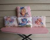 Retro Children Pillows -Free Personalization- Little Girls, Birds, Flowers - Vintage Style