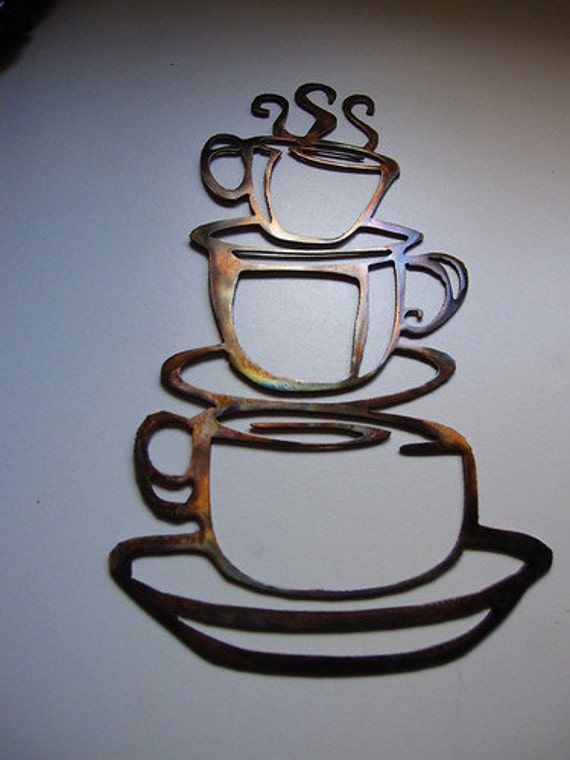 Metal Wall Art Decor Kitchen : Coffee cups kitchen home decor metal wall by