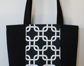 Zippered Canvas Tote: Black and White Geometric Print (SALE)