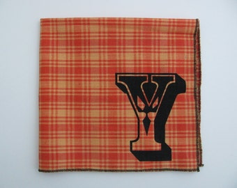 SALE - Super soft discontinued ORANGE cotton hanky with INITIAL Y only- last one