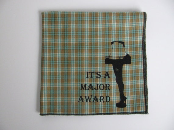 CHRISTMAS STORY on Brown/Green plaid Hanky