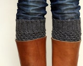 Crochet Boot Cuffs in Dark Slate Grey/Gray Turbulence