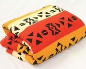 African Mud Print Fabric - Mustard, Orange and Ivory