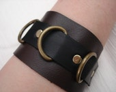 Brown & Black Leather Cuff w/ Large Antique Brass D-Rings