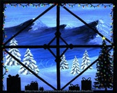HOLIDAY LIGHTS 8x10 Photographic Art Print from Original Painting by K Graham Christmas Trees Snow Scene Snowflakes Presents Snowy Mountains