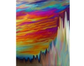 NEON STORM & SPIRES Colorful Abstract Modern Digital Art Print by K Graham 8x10 Print Yellow Red Black Blue Green Turquoise Rainbow