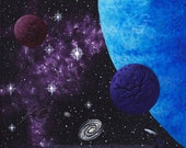 16 x 20 Gallery Wrapped Canvas Print Outer Space Print From Original Painting by K Graham Alien Planets Stars Nebula Comet