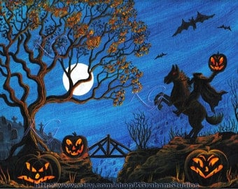 HEADLESS HORSEMAN 8x10 Print from Original Painting by K. Graham Halloween Spooky, Owl, Horse Jackolanterns Haunted Bridge Full Moon Bats