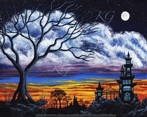 SUNSET CASTLE 11x14 Fine Art Print Colorful Spooky Sunrise Landscape Full Moon Big Tree Eerie Castle with Bridge by K Graham