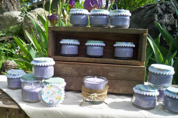 15 lavender colored baby food jar soy candles,baby shower favors, customized, plus decorated 4 oz shower candle, ready to ship