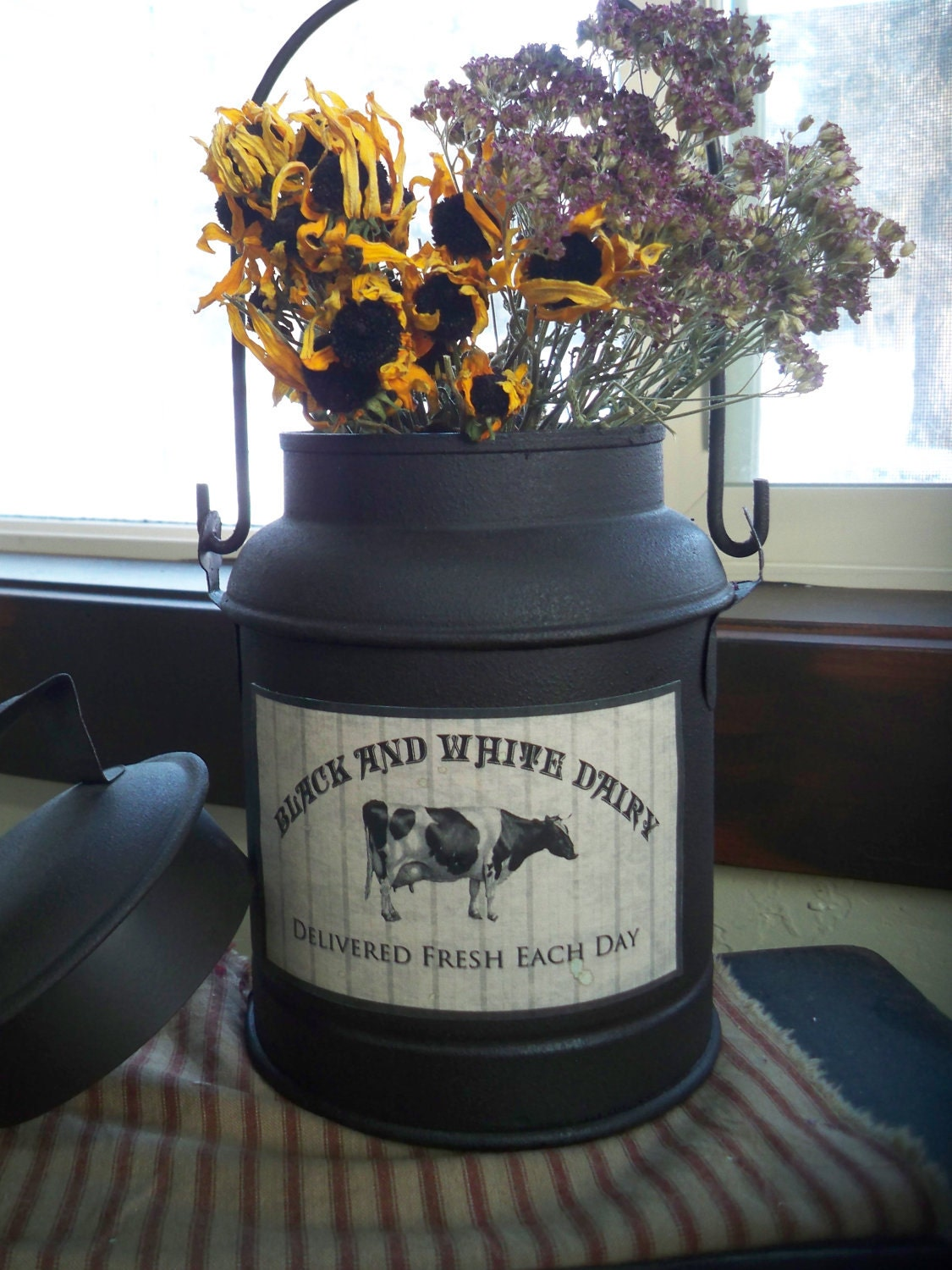 Black And White Dairy Milk Can Rustic Farmhouse Decor Country