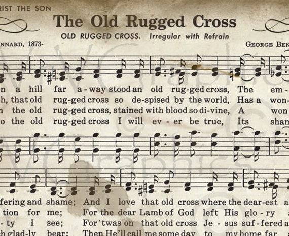 Breathtaking image with old rugged cross printable sheet music