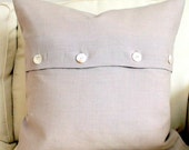 20 x 20 Decorative Pillow Cover Flax Linen Vintage button closure