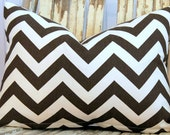 Brown and Ivory Chevron Pillow Cover 12 x 16