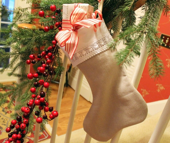 Christmas Stocking from The Linen Collection Flax with vintage lace cuff lined 17 in. long