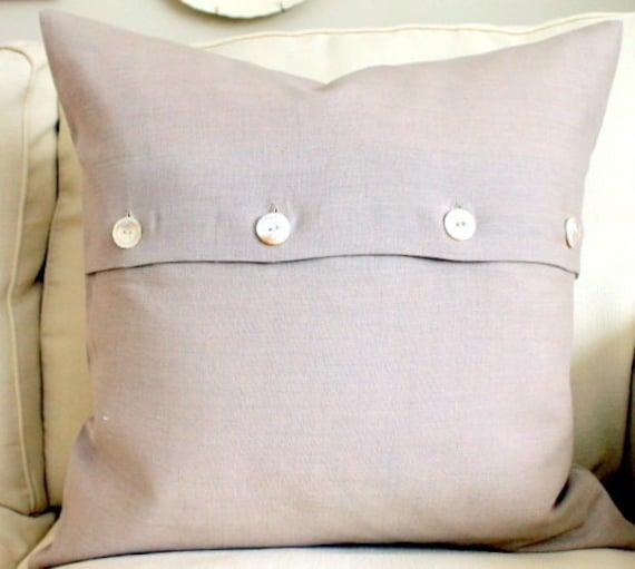 20 x 20 Decorative Pillow Cover Flax Linen Vintage button