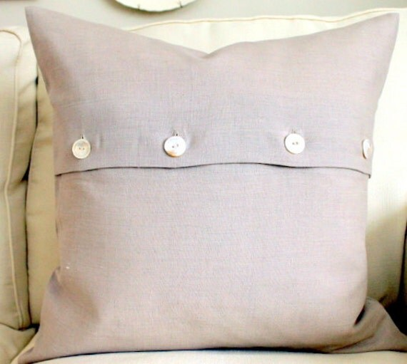 Throw Pillow Button Closure : 20 x 20 Decorative Pillow Cover Flax Linen Vintage button