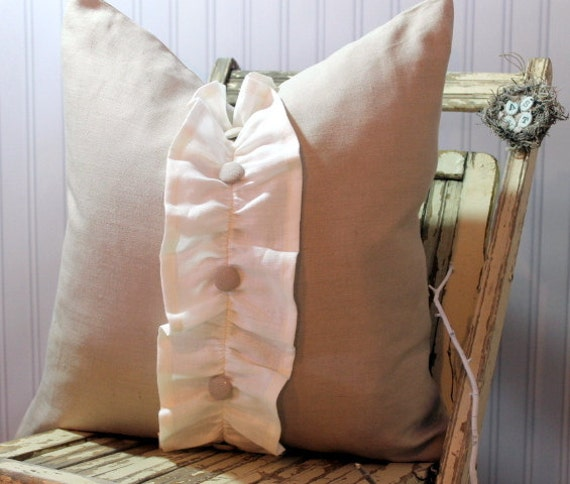 20 x 20 Decorative Pillow Cover Flax Linen with Ruffle Covered Button Trim