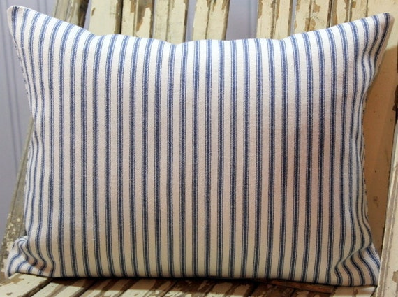 Blue Ticking Decorative Pillow Cover 12 x 16  zipper closure