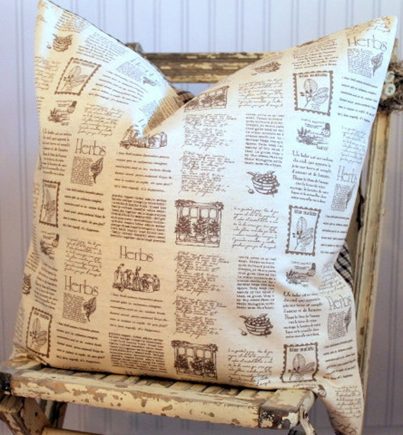 Herb Script Pillow Cover 20 x 20 Natural Ivory with Brown Homespun Check Back