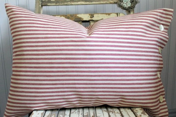Red Ticking Decorative Pillow Cover Button Closure 16 X 24