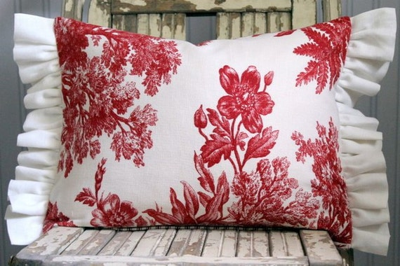 Red Ticking and Vintage Red Toile Decorative Reversible Pillow Cover Ruffled Trim 12 x 16