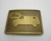 Vintage 1970s Ford Van Brass Belt Buckle Just like the one I partied away the early 80's in :-)