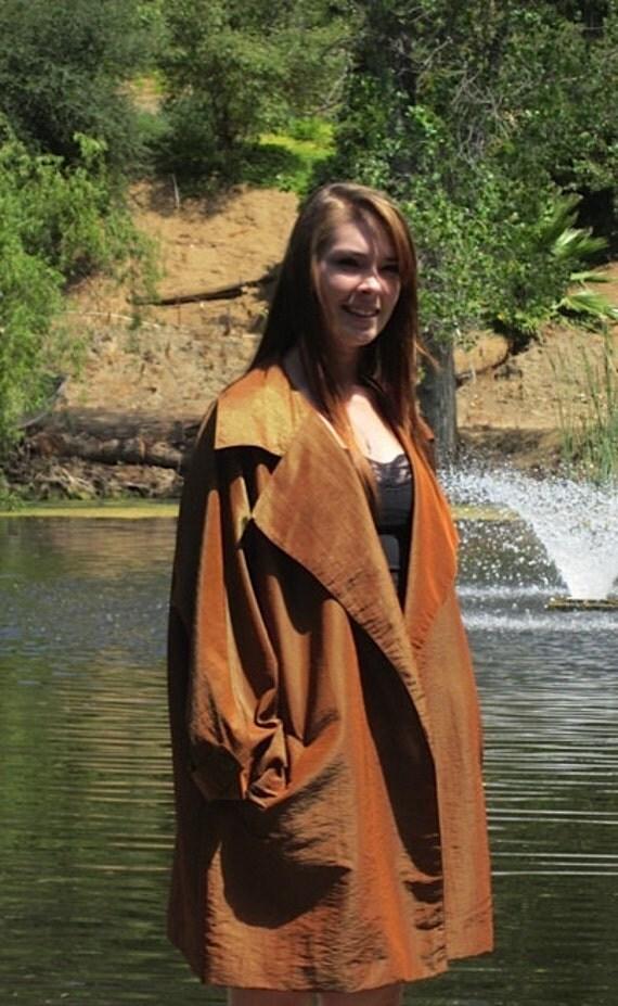 Bronze Orange Vintage Trench Jacket by Ann Tjian for KENAR  Size  Medium