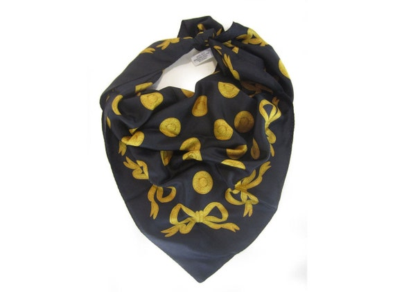 Vintage 60s Silk Scarf Black & Gold Bow Print