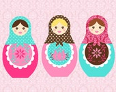 Matryoshka/Nesting Dolls 5x7 art print (you choose colors)