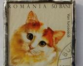 Soldered Postage Stamp Pendant Necklace - Catnip