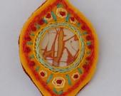 Orange Drop Jasper Embroidered Felt Pendant