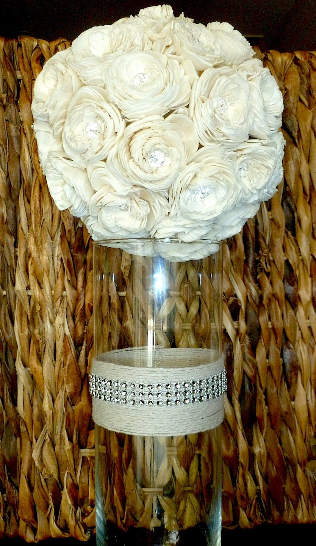 Crystal and twine vase wedding centerpiece shabby chic