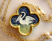 Silver swan gold and pearl necklace