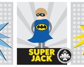 3 pc Set BATMAN SUPER HERO prints. Matches Pottery Barn batman collection. 8x10. StudioLO2011