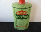 Vintage Columbia Antiseptic Powder Tin rare Find