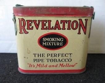 Vintage Revelation Tobacco Tin 1/2 size verticle tin