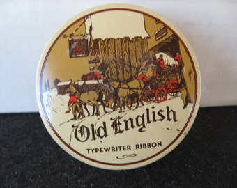 Vintage Old English Typewriter Ribbon Tin