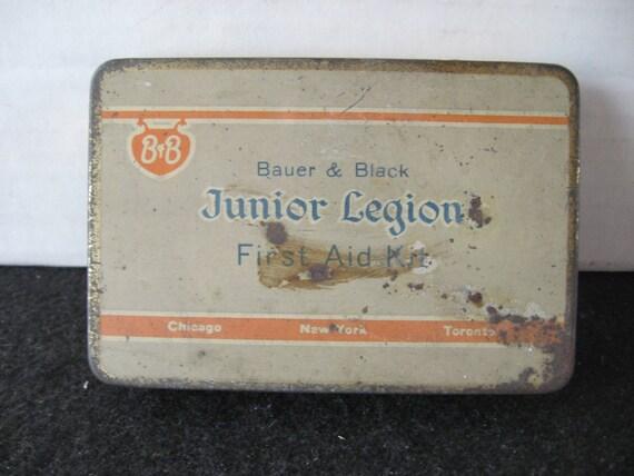 Vintage Junior Legion First Aid Kit Tin (Bauer & Black)
