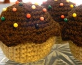 Crochet Cupcake Pincushion with Colored Ball Point Pins as Sprinkles
