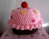 Crochet Cupcake Hat with Button Sprinkles
