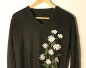 Women's Floral Black V-neck Sweater