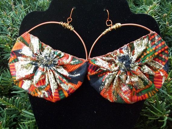 Wire Wrapped Earrings / Kente Cloth Earrings