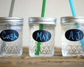 Five Kids Mason Jar Tumblers - Petite Jar with Label - Personalized Tumbler with Straw - Eco Friendly Cup
