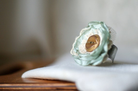 Vintage Fabric Ring -  Mint Green Ring - Fabric and Lace Ring
