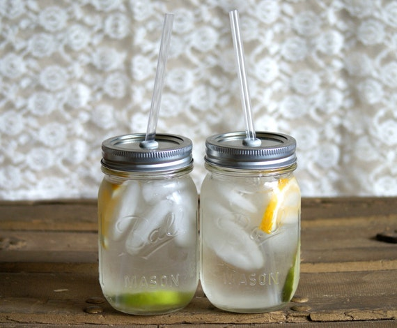 Two Iced To-Go Mason Jar Tumblers  - Canning Jar Cup - Smoothie Tumbler - Picnic Tumbler