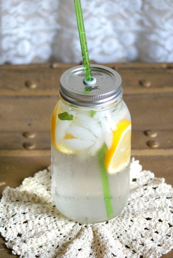 1 Canning Jar Travel Top and Straw - Mason Jar Tumbler Lid and Reusable Straw